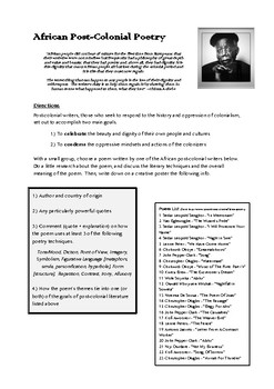 African Post-Colonial Poetry Activity/Handout