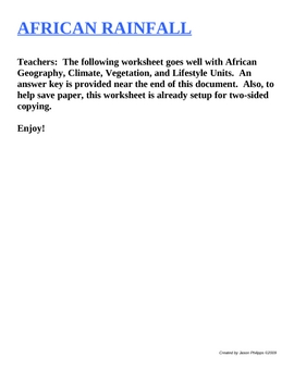 African Rainfall Worksheet with Answer Key