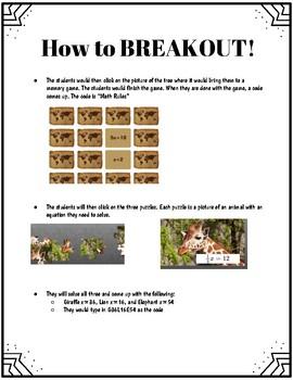 African Safari 1 step Equation Digital Breakout