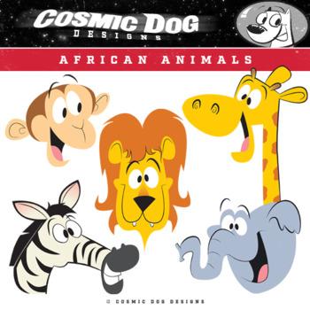 African Animals Clip Art  - Fun Cartoon Safari Set