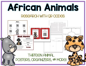 African Safari Animals - Research w QR Codes, Posters, Organizer - 13 Pack
