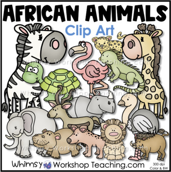 African Animals Clip Art (Whimsy Workshop Teaching)