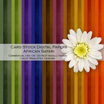 African Safari Cardstock Digital Papers Package