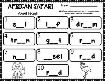 African Safari Extravaganza (25 Math & Literacy Centers + Word Wall Cards)