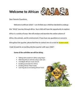 African Safari Parent letter