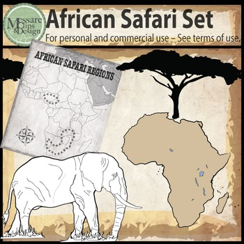African Safari Tour Animal Clip Art {Messare Clips and Design}