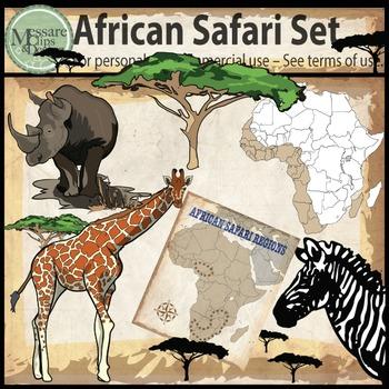 African Safari Tour Animal Clip Art {Messare Clips and Design}
