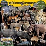 African Savanna Habitat Animals Clip Art Photo & Artistic Digital Stickers