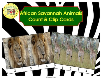 African Savannah Animals Count and Clip Task Cards