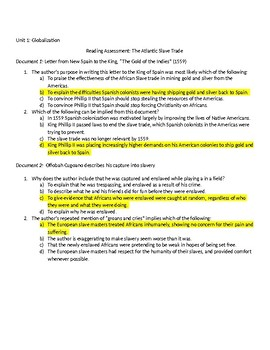 African Slave Trade DBQ & SAT Style Reading Assessment