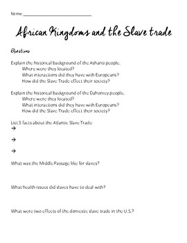 African Slave Trade Reading and Questions