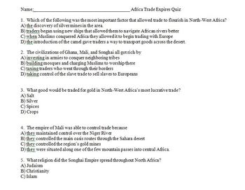 African Trade Empires - Ghana, Mali and Songhai Lesson Plan