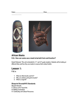 African Tribal Masks Student Activity Guide