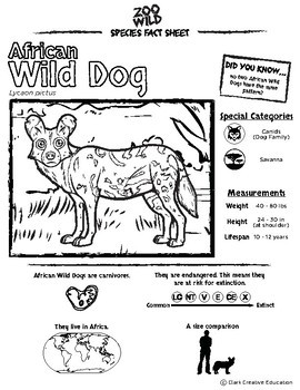 African Wild Dog - 15 Resources - Leveled Reading, Slides & Activities