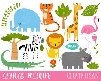 African Wildlife Clip Art   Safari Animals Printable   Jungle