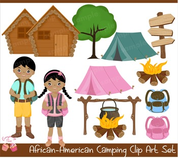 African-american Camping 2 Clipart Set