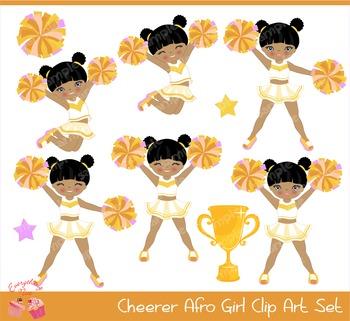 Cheerleaders African - american Cheerers in Gold Golden Yellow Clipart Set