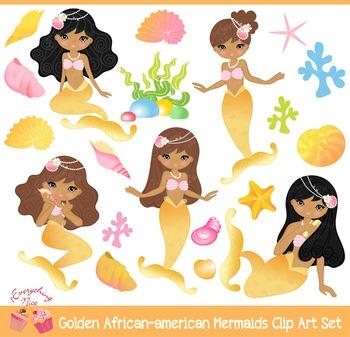 African - american Gold Golden Mermaids Clipart Set