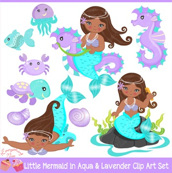 African-american Little Mermaids Mermaid in Aqua & Purple Clipart Set
