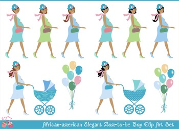 African - american Mom Mommy to be Boy Clipart Set