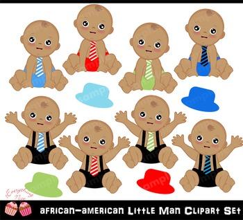 African-american little man Clipart Set