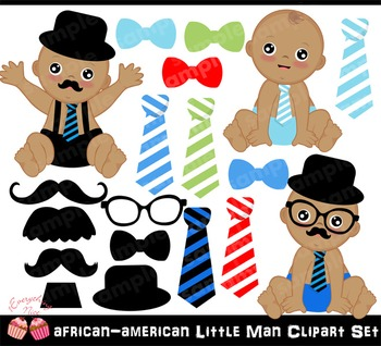 African-american little man Clipart Set
