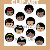 African faces, kids clipart