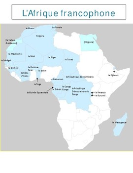 Francophone Africa Map.Afrique Francophone Map French Speaking Africa By Jer520 Tpt