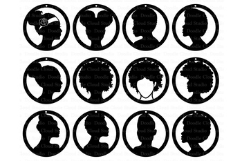 Afro Lady Earrings SVG, Earrings Girl SVG files for Silhouette Cameo and Cricut.