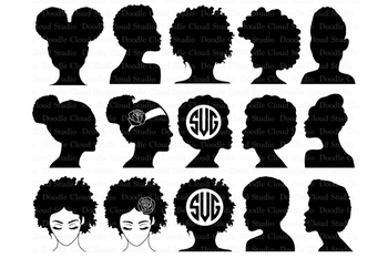 Afro Woman SVG, Afro Lady SVG files for Silhouette Cameo and Cricut. Afro Hair.