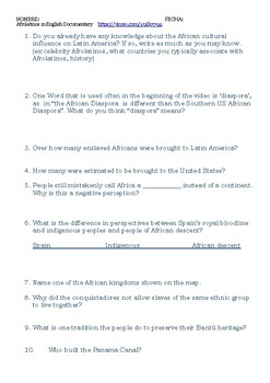 AfroLatinos Documentary Questions in English for Black History Month