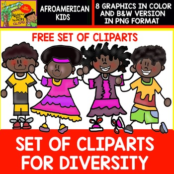 Afroamerican Kids - FREE Set of Cliparts for Diversity