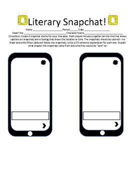 After Reading Activity: Literary Snapchat!