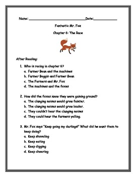After Reading Questions for Fantastic Mr. Fox Chapters 3-11- By: Ms.Bisker