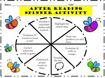 After Reading Spinner Activity