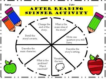 After Reading Spinner Reading Comprehension