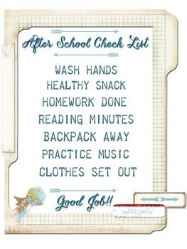 After-School Checklist- Printable JPEG