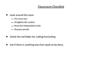 After School Checklist / To Do list for Teacher Aides and Paraprofessions