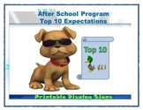 After School Program Top 10 Expectations- Printable Display Signs