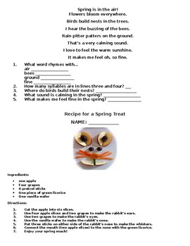 After Spring Break Review Packet for Second Grade