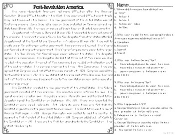 After The American Revolution: Early America Reading Passages & Questions