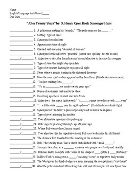After Twenty Years by O. Henry Open Book Scavenger Hunt and KEY