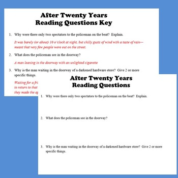 After Twenty Years Reading Activities (O. Henry)
