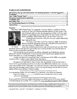 "O. Henry: ""After Twenty Years"" Close Reading Study Guide 