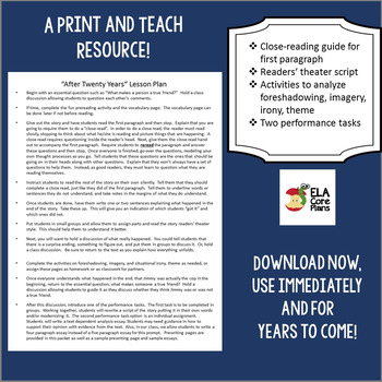 """After Twenty Years"" by O. Henry Common Core Lesson Plans and Activites"