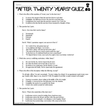 After Twenty Years by O. Henry: Common Core Reading Test Prep Lesson Pack