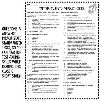 After Twenty Years Activities Quiz ELA Test Prep Reading Comprehension Lesson