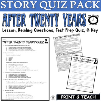 After Twenty Years Short Story by O. Henry: Common Core ELA Test Prep Quiz