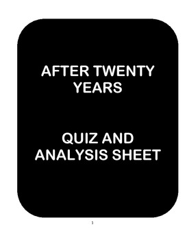 After Twenty Years by O'Henry - Analysis Worksheets and Re