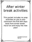 After Winter Break Activities